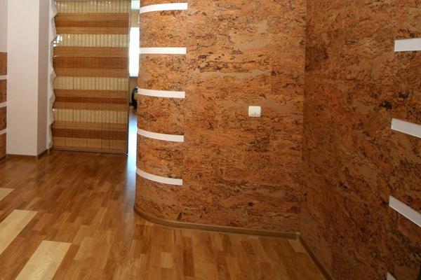 отделка стен пробкой в квартире
